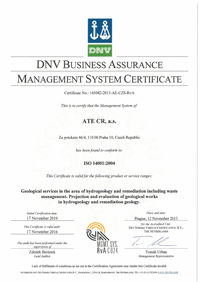 certificate according to ISO 14001