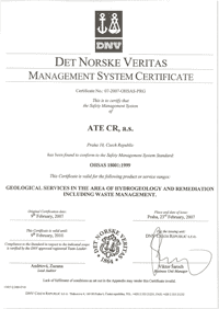 certificate according to ISO 18001