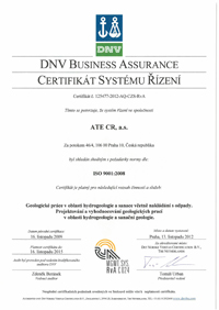 certificate according to ISO 9001